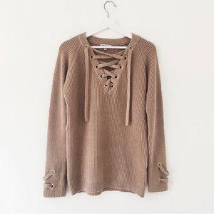 Stargaze Jewelry Laced Up Long Sweater Tan